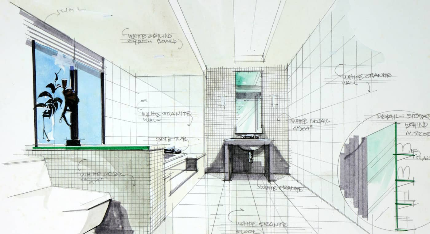 artist drawing of bathroom reno simcoe norfolk county